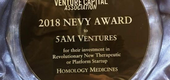 5AM and Homology Medicines Receives Award for Revolutionary New Therapeutic or Platform Startup from New England Venture Capital Association